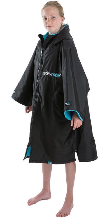 2021 Dryrobe Advance Junior Long Sleeve Premium Outdoor Change Robe / Poncho DR104 - Black / Blue