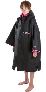 2020 Dryrobe Advance Junior Short Sleeve Premium Outdoor Change Robe / Poncho DR100 - Black / Pink