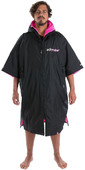 2021 Dryrobe Advance Short Sleeve Premium Outdoor Change Robe / Poncho DR100 - Black / Pink