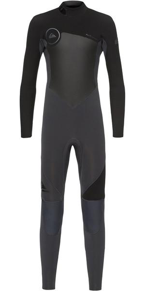 2018 Quiksilver Boys Syncro 3/2mm Back Zip Wetsuit Graphite / Black EQBW103023