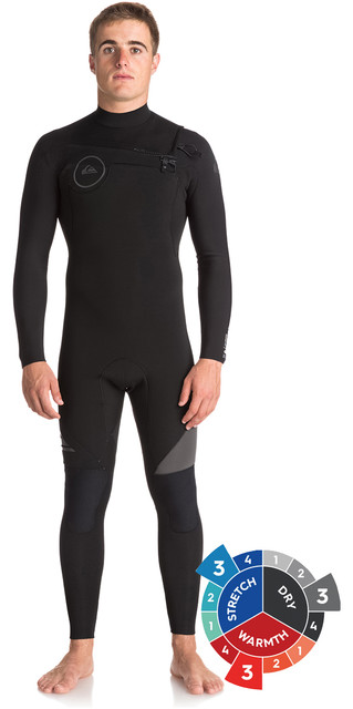 2018 Quiksilver Syncro 3/2mm Chest Zip Wetsuit Jet Black Eqyw103038 Picture