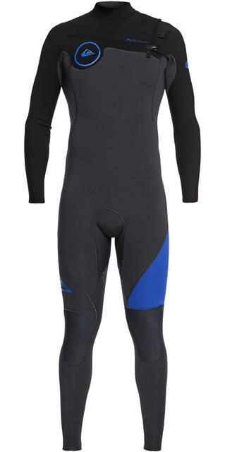 2018 Quiksilver Syncro 4/3mm Chest Zip Wetsuit Graphite / Black / Deep Cyanine Eqyw103042 Picture