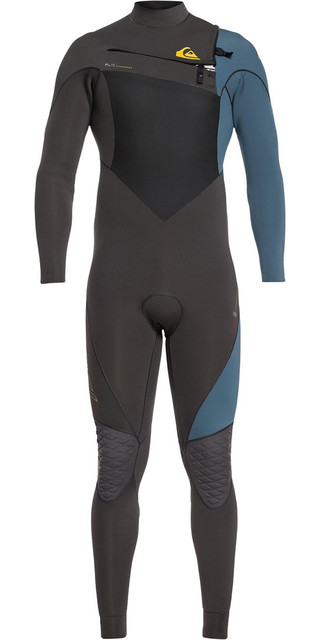 2018 Quiksilver Highline+ 3/2mm Chest Zip Wetsuit Jet Black / Blue Steel Eqyw103060 Picture