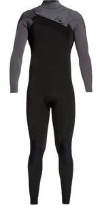 2019 Quiksilver Mens Highline Ltd Monochrome 3/2mm Chest Zip Hydrolock Wetsuit Black / Jet Black EQYW103075