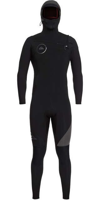 2018 Quiksilver Syncro 5/4/3mm Hooded Chest Zip Wetsuit Black / Jet Black Eqyw203005 Picture