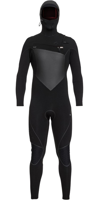 2018 Quiksilver Highline+ 5/4/3mm Hooded Chest Zip Wetsuit Black Eqyw203009 Picture