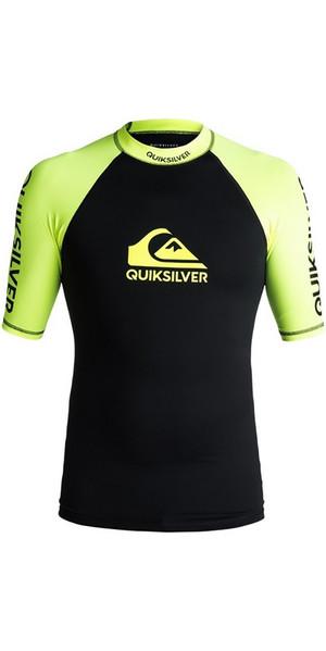 2018 Quiksilver On Tour Short Sleeve Rash Vest BLACK /Lime EQYWR03075