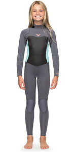 2018 Roxy Girls Syncro 3/2mm Back Zip Wetsuit Deep Grey / Glacier Blue ERGW103013