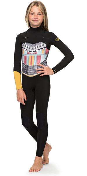 2018 Roxy Girls Popsurf 3/2mm GBS Chest Zip Wetsuit Black ERGW103019