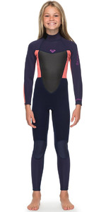 Roxy Girls Prologue 4/3mm Back Zip Wetsuit Blue Ribbon / Coral Flame ERGW103022