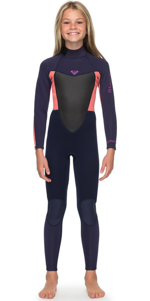 2018 Roxy Girls Prologue 4/3mm Back Zip Wetsuit Blue Ribbon / Coral Flame ERGW103022