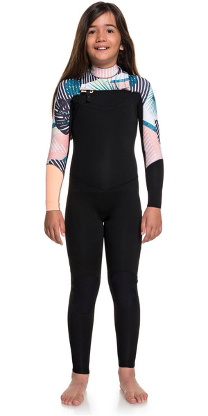 2019 Roxy Girls 3/2mm Pop Surf Front Zip Wetsuit Black ERGW103029