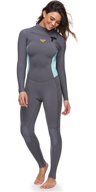 2018 Roxy Womens Syncro 3/2mm Chest Zip Wetsuit Deep Grey Erjw103025 Picture