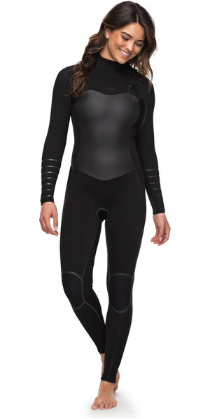 2018 Roxy Womens Syncro+ 4/3mm Chest Zip Wetsuit Black ERJW103030