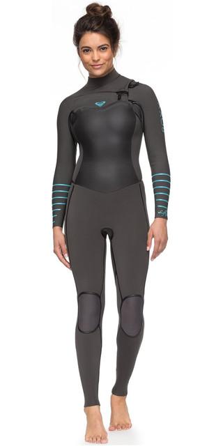 2018 Roxy Womens Syncro+ 4/3mm Chest Zip Wetsuit Jet Black / Heather Blue Erjw103030 Picture