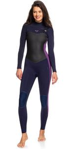 2020 Roxy Womens Performance 3/2mm Chest Zip Wetsuit Deep Indigo / Dark Violet ERJW103031