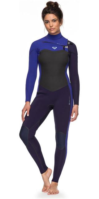 2018 Roxy Womens Performance 3/2mm Chest Zip Wetsuit Blue Ribbon / Purple Erjw103031 Picture