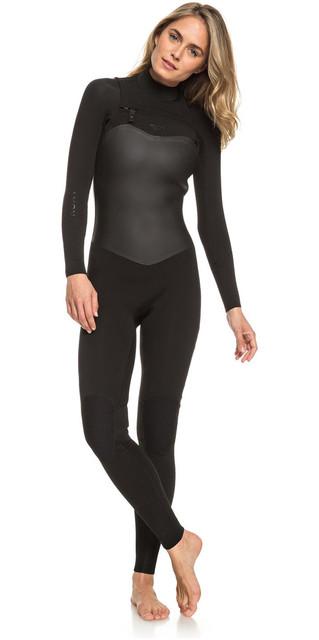 2018 Roxy Womens Satin Capsule 3/2mm Chest Zip Wetsuit Black Erjw103037 Picture