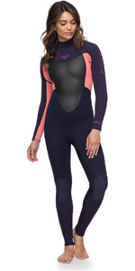 2018 Roxy Womens Prologue 4/3mm Back Zip Wetsuit Blue Ribbon / Coral Flame ERJW103039