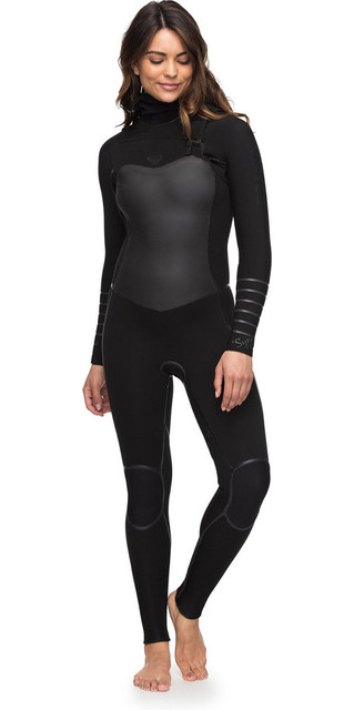 2018 Roxy Womens Syncro+ 5/4/3mm Hooded Chest Zip Wetsuit Black Erjw203002 Picture