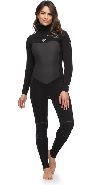 35804cc9b0 2018 Roxy Womens Performance 5 4 3mm Hooded Chest Zip Wetsuit Black  ERJW203003 Roxy