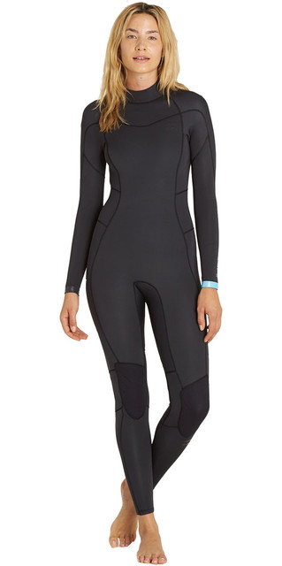 2018 Billabong Womens Synergy 5/4mm Back Zip Wetsuit Black Sands F45g12 Picture