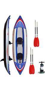 Z-Pro Flash 2 Man High Pressure Inflatable Kayak, Paddles & Pump Blue FL200