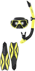 2018 Gul Tarpon ADULT Mask / Snorkel & FIN Set in Yellow / Black GD0003