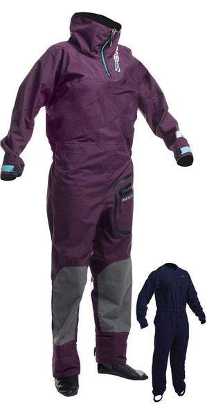 2018 Gul Shadow Womens Halo Zip Drysuit Italian Plum GM0350-B3 INCLUDING UNDERFLEECE