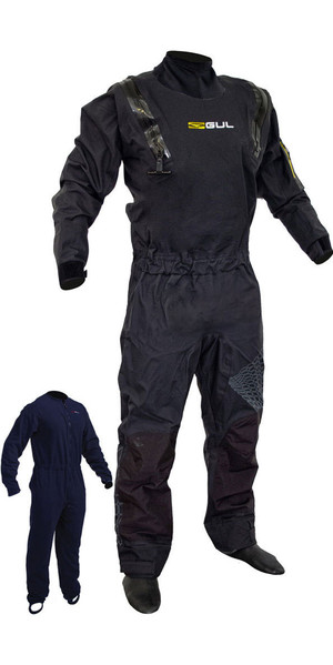 2019 Gul Code Zero Stretch U-Zip Drysuit Black GM0368-B5 INCLUDING UNDERFLEECE