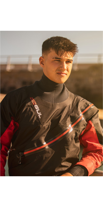 2021 Gul Mens Dartmouth Eclip Zip Drysuit Inc Underfleece GM0378-B5 - Black / Red