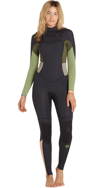 2018 Billabong Ladies 4/3mm Synergy Chest Zip Wetsuit GREEN TEA F44G11 SECOND