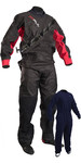 2019 GUL Junior Dartmouth Eclip Zip Drysuit & Free Underfleece BLACK / RED GM0378-B5