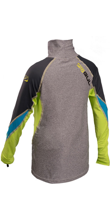 GUL Junior Long Sleeve Rash Vest Marl / Lime RG0344-B4