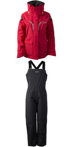 2019 Gill OS3 Junior Coastal Jacket OS31JJ & OS3 Junior Coastal Trousers OS31TJ COMBI SET BRIGHT RED / GRAPHITE