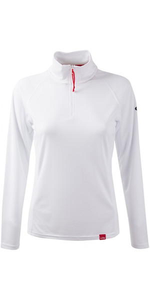 2018 Gill Women's UV Tec Zip Neck Top in ARCTIC WHITE UV003W