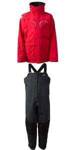 2019 Gill OS3 Mens Coastal Jacket OS31J & OS3 Mens Coastal Trousers OS31T COMBI SET BRIGHT RED /  GRAPHITE