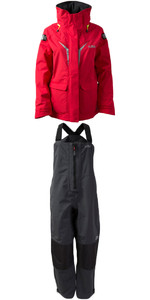 2019 Gill OS3 Womens Coastal Jacket OS31JW & OS3 Womens Coastal Trousers OS31TW COMBI SET BRIGHT RED / GRAPHITE