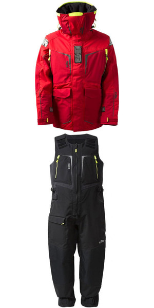 2018 Gill Mens OS1 Offshore Ocean Jacket OS12J & Trouser OS12T Combi Set in RED / Graphite