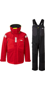 2020 Gill OS2 Mens Offshore Jacket & Trouser Combi Set - Red / Black