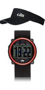 Gill Regatta Race Timer Watch & Regatta Visor Package Deal Black