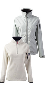 Gill Womens Crew Jacket Silver & Knit Fleece Sailcloth
