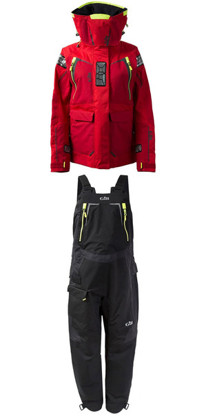 2018 Gill Womens OS1 Offshore Ocean Jacket OS12JW & Trouser OS12TW Combi Set in RED / Graphite