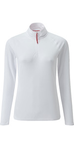 2021 Gill Womens UV Tec Zip Neck Top White UV009W