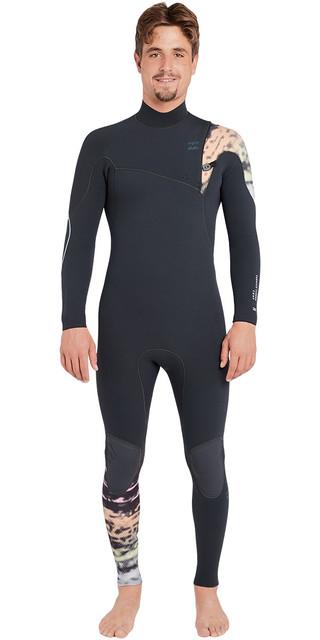 2018 Billabong Furnace Carbon Comp 3/2mm Chest Zip Wetsuit Graphite L43m26 Picture