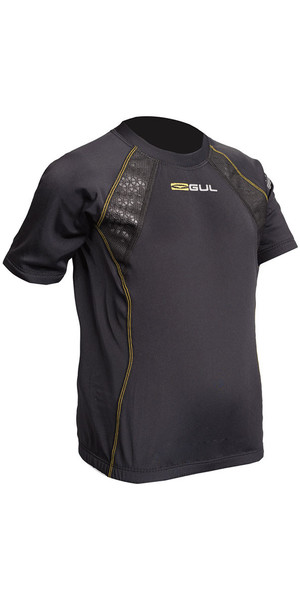 2018 Gul Evolite Junior Flatlock Thermal Short Sleeve Top Black EV0124-B2