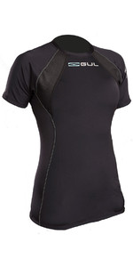 2020 Gul Evolite Womens Flatlock Thermal Short Sleeve Top Black EV0122-B2