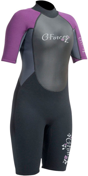 2018 Gul G-Force 3mm Womens Shorty Wetsuit Black / Mulberry GF3306-A9