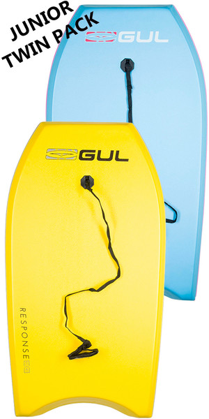 2019 GUL RESPONSE JUNIOR TWIN PACKAGE BODYBOARDS - 2 JUNIOR - LIGHT BLUE + YELLOW