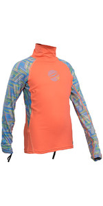 Gul Junior Girls Long Sleeve Rash Vest Coral / Lines RG0346-B4